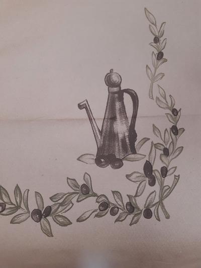 Хартиена покривка - 130 х 100 - маслинов десен/кафява/